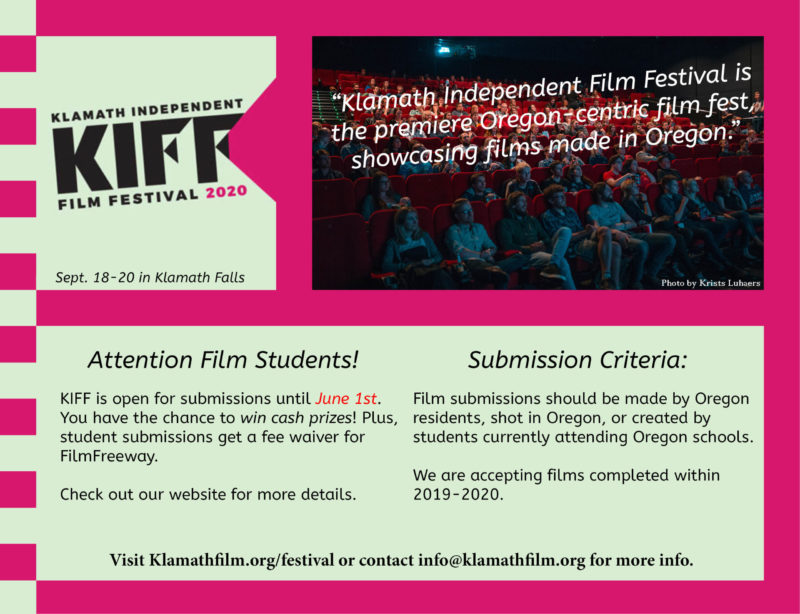 Film submission deadline for Klamath Independent Film Festival approaching