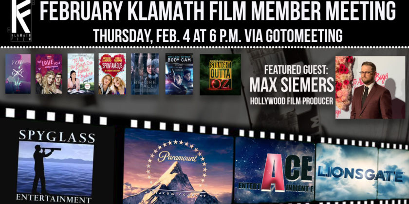 February member meeting to feature chat with Hollywood film producer Max Siemers